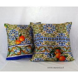Throw pillows silk sicilian majolica lemons and oranges...