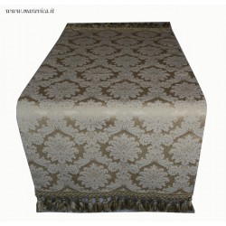 Runner tavolo elegante tessuto damasco avorio stile barocco