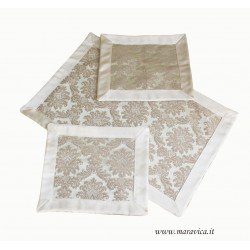 Doily set in beige damask fabric