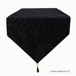 Modern table runner black velvet jacquard