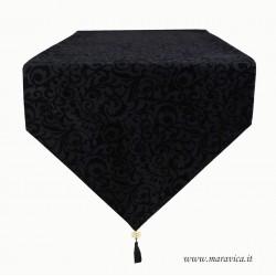Runner tavolo moderno velluto nero jacquard