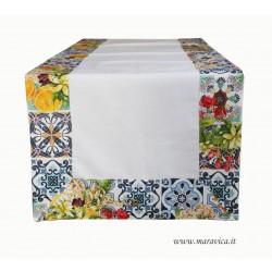 Runner da tavolo in cotone con bordi stampa maiolica e fiori