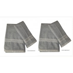 Set of 2 pairs  towels face and guest towel  grey with...
