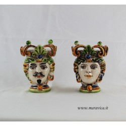 Moorish heads decorated in sicilian ceramic Caltagirone h...