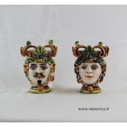 Teste di moro piccole dipinte a mano in ceramica di...