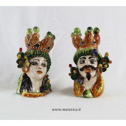 Teste di moro piccole dipinte a mano con fichi d'India in...