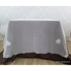 shabby chic table cover in polka dot tulle with...