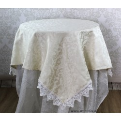 Shabby chic centerpiece tablecloth in ivory damask and lace
