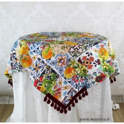 Tablecloth center cover stain cotton majolica and citrus...
