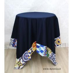 Tovaglia tavola copritavolo in cotone blu con bordo...