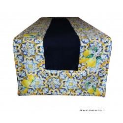 Runner tavolo in cotone blu con bordi stampa maiolica e...