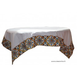 White cotton tablecloth table cover with majolica print...