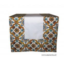 Runner da tavolo in cotone bianco bordi stampa maiolica