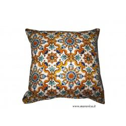 Cuscino arredo in cotone stampa maiolica stile mediterraneo