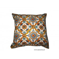 Throw pillow Mediterranean style majolica printed cotton