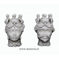Teste di moro moderne grandi in ceramica di Caltagirone