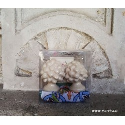 Pigne siciliane in ceramica avorio h cm 6 confezione regalo