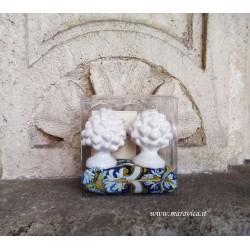 Pigne siciliane bianche in ceramica h cm 6 confezione regalo