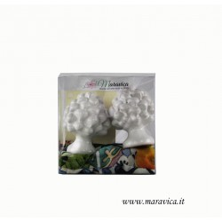 Sicilian white pine cones in ceramic h cm 6 gift box