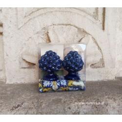 Pigne siciliane blu in ceramica h cm 6 confezione regalo