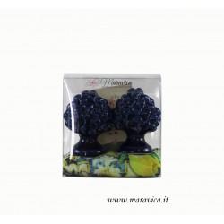Sicilian blu pine cones in ceramic h cm 6 gift box