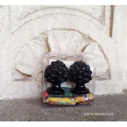 Pigne siciliane nere in ceramica h cm 6 confezione regalo