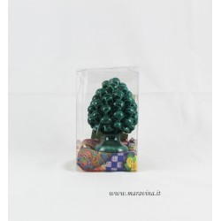 Sicilian green pinecone in Caltagirone ceramic gift box