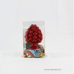Sicilian red pinecone in Caltagirone ceramic gift box