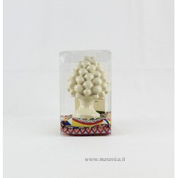 Sicilian ivory pinecone in Caltagirone ceramic gift box