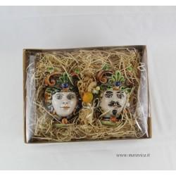 Moorish heads decorated in sicilian ceramic Caltagirone h...