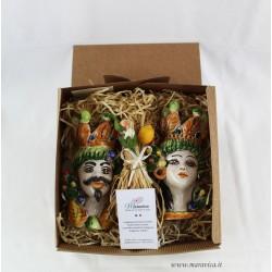 Moorish heads with prickly pear in sicilian ceramic gift box