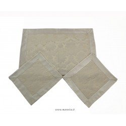 Doily set in ivory damask fabric