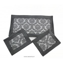 Doily set in  grey damask fabric