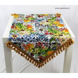 Cotton table runner with majolica pattern and flowers...
