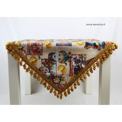 Sicilian patterned cotton table runner with trimmings