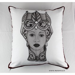 Sicilian moorish head print throw pillow cushion
