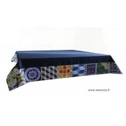 Tovaglia da tavola in cotone blu con bordo stampa maiolica