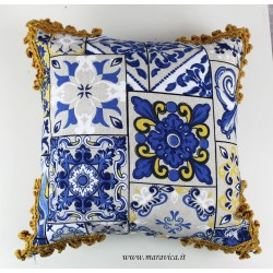 Fancy Sicilian blue yellow majolica cushion with trimmings