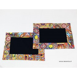 Set of 2 American placemats in cotton blu and sicilian...