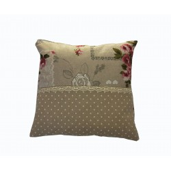 Cushion with flowers in cotton and handmade lace made in...