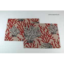 Set of 2 coral print cotton placemats