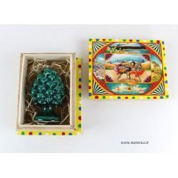 Pigna siciliana in ceramica con scatola in legno