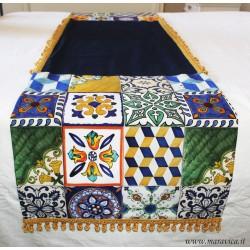 runner da letto stile siciliano in cotone stampa maiolica...