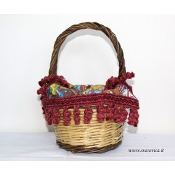 Sicilian bread basket with sicilian style print fabric cover