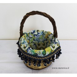 Sicilian bread basket with majolica fabric and lemons