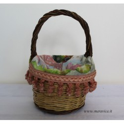 Sicilian bread basket with prickly pear print fabric...