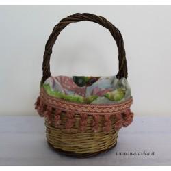 Sicilian bread basket with prickly pear print fabric...