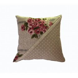 Shabby chic throw pillow flowers in cotton and handmade...