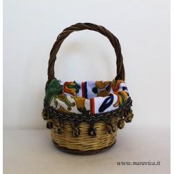 Sicilian bread basket with Caltagirone majolica fabric...