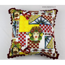 Throw pillow in cotton with Sicilian moorish heads print